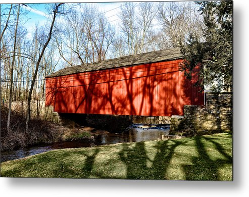 Pine Metal Print featuring the photograph Pine Valley Covered Bridge In Bucks County Pa by Bill Cannon
