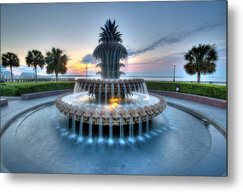 Waterfront Park Metal Print featuring the photograph Pineapple Fountain At Waterfront Park by Walt Baker