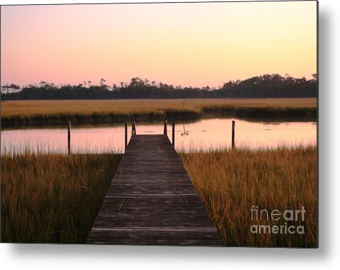 Pink Metal Print featuring the photograph Pink And Orange Morning On The Marsh by Nadine Rippelmeyer