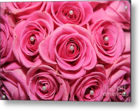 Roses Metal Print featuring the photograph Pink Bouquet by Paul Clavel