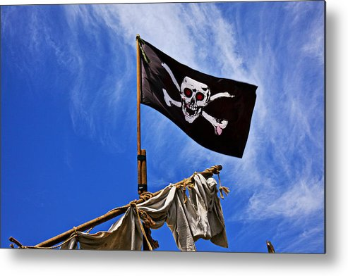 Pirate Flag Skull Banner Piracy Scull Robbers Terror Terrorist F Metal Print featuring the photograph Pirate Flag On Ships Mast by Garry Gay