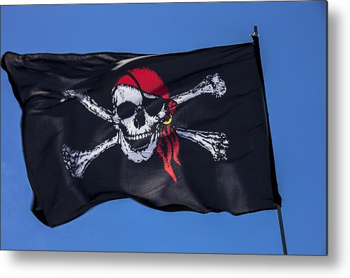Pirate Flag Skull Banner Piracy Scull Robbers Terror Terrorist F Metal Print featuring the photograph Pirate Skull Flag With Red Scarf by Garry Gay