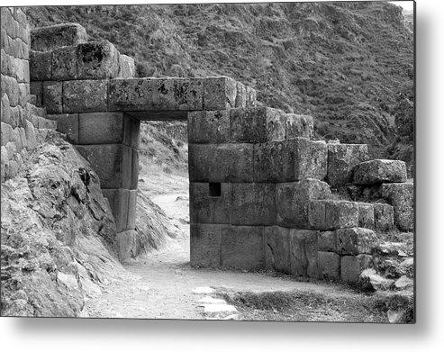 Pisac Gate Peru Inca Ruins Metal Print featuring the photograph Pisac Gate by Noel Lopez