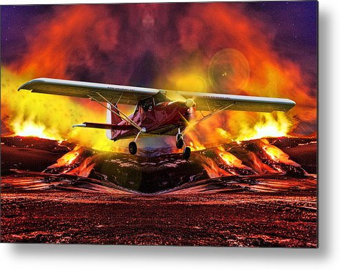 Aerodrome Metal Print featuring the photograph Plane And Fire by Srdjan Petrovic
