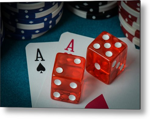 Aces Metal Print featuring the photograph Playing Cards And Dice Used With Gamling Chips by Brandon Bourdages