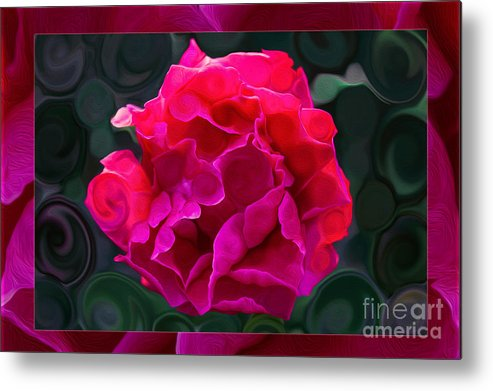 Plentiful Supplies Of Pink Peony Petals Abstract Metal Print featuring the painting Plentiful Supplies Of Pink Peony Petals Abstract by Omaste Witkowski