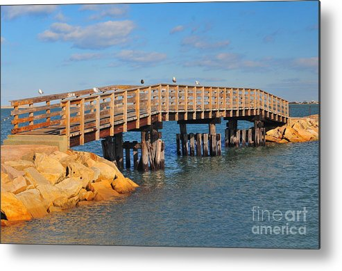 Find In Fine Art America Folder Metal Print featuring the photograph Plymouth Harbor Breakwater by Catherine Reusch Daley