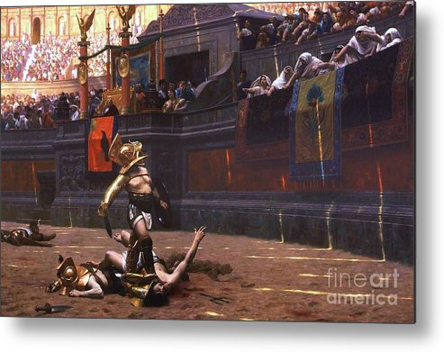 Pd Metal Print featuring the painting Pollice Verso by Pg Reproductions