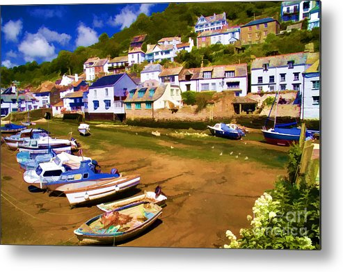 Polperro Metal Print featuring the photograph Polperro At Low Tide by David Smith