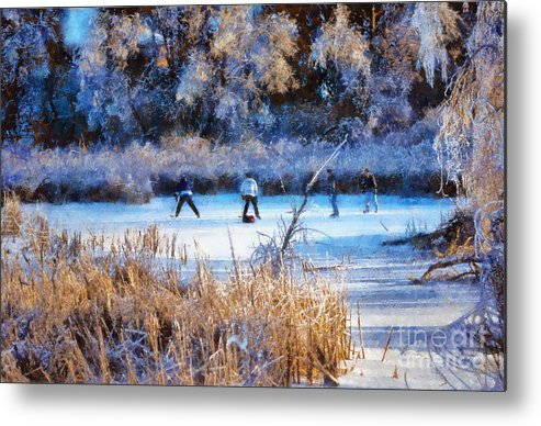 Pond Metal Print featuring the photograph Pond Hockey - Painterly by Les Palenik