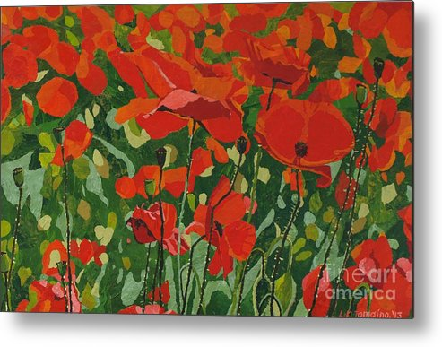Floral Metal Print featuring the painting Poppies by Leah Tomaino