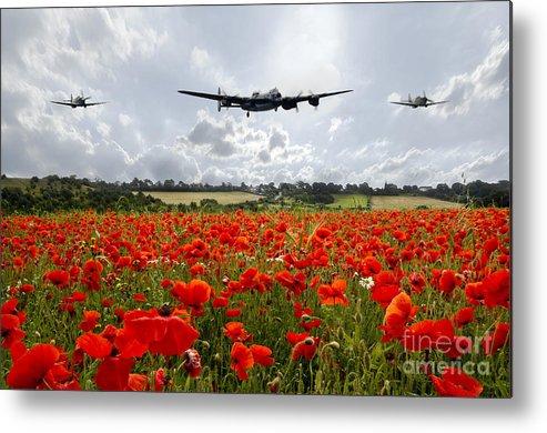 Lancaster Bomber Metal Print featuring the digital art Poppy Fly Past by J Biggadike