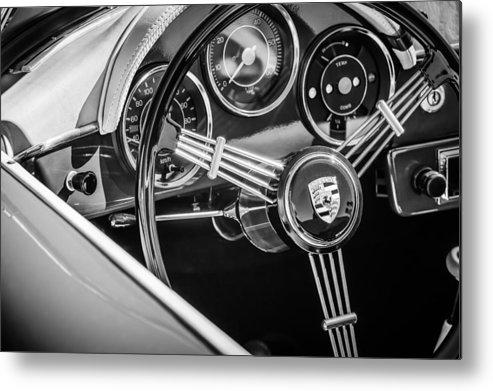 Porsche Steering Wheel Emblem Metal Print featuring the photograph Porsche Steering Wheel Emblem -2043bw by Jill Reger