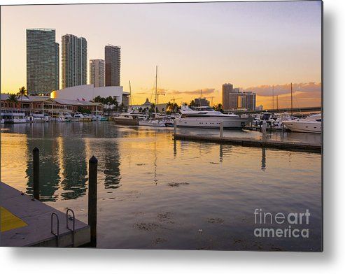 Port Metal Print featuring the photograph Port Of Miami At Sunset by Andre Babiak