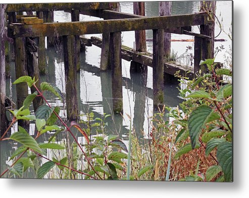 Fishing Metal Print featuring the photograph Posts Reflections by Mark Tsemak