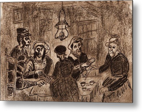 Metal Print featuring the drawing Potatoe Eaters by Clyde Stewart
