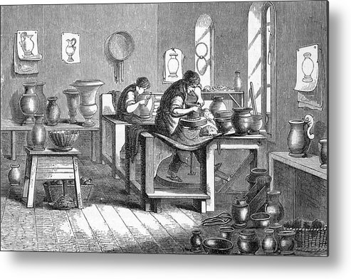 Industry Metal Print featuring the drawing Potters Working With The Wheel by Mary Evans Picture Library