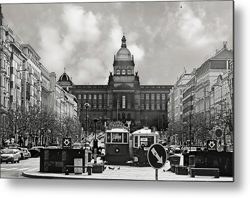 New Town Metal Print featuring the photograph Prague Wenceslas Square And National Museum by Christine Till