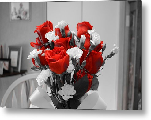 Red Metal Print featuring the photograph Pretty In Red by Dan Vallo