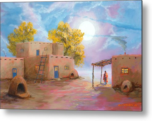 Pueblo Metal Print featuring the painting Pueblo De Las Lunas by Jerry McElroy
