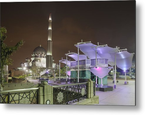 Putra Mosque Metal Print featuring the photograph Putra Mosque At Night by Jit Lim