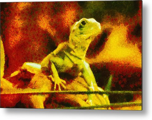Lizard Metal Print featuring the painting Queen Of The Reptiles by Ayse and Deniz
