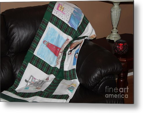 Quilts Metal Print featuring the tapestry - textile Quilt Newfoundland Tartan Green Posts by Barbara Griffin