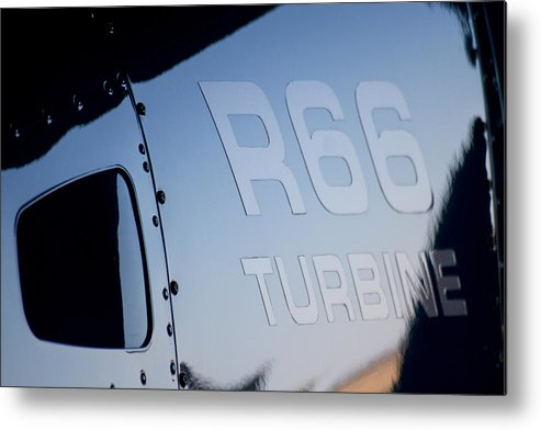 Robinson's R66 Turbine Helicopter Metal Print featuring the photograph R66 Reflection by Paul Job