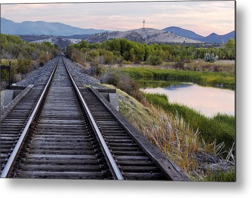 Railroad Tracks Metal Print featuring the photograph Railroad Tracks Leading To The Mountains by Dana Moyer