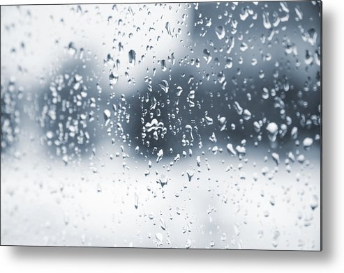 Drops Metal Print featuring the photograph Rain In Winter by Alexey Stiop