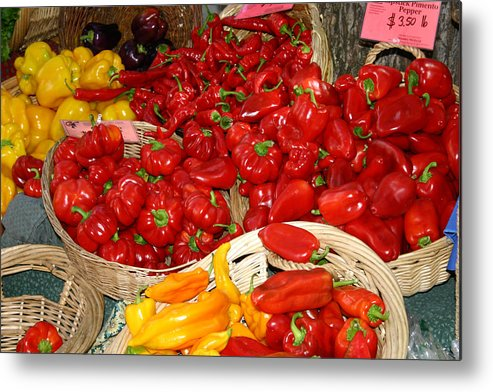Peppers Metal Print featuring the photograph Red And Yellow Peppers by Wendy Raatz Photography
