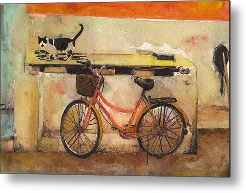 Painting  Metal Print featuring the painting Red Bicycle And Cat by Susan Powell