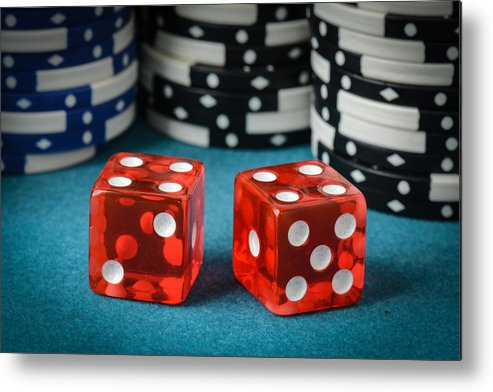 Addiction Metal Print featuring the photograph Red Dice And Playing Chips by Brandon Bourdages