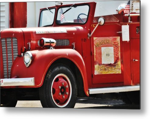Montana Metal Print featuring the photograph Red Fire Truck by Image Takers Photography LLC - Carol Haddon