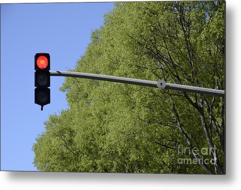 Guidance Metal Print featuring the photograph Red Traffic Light By Trees by Sami Sarkis