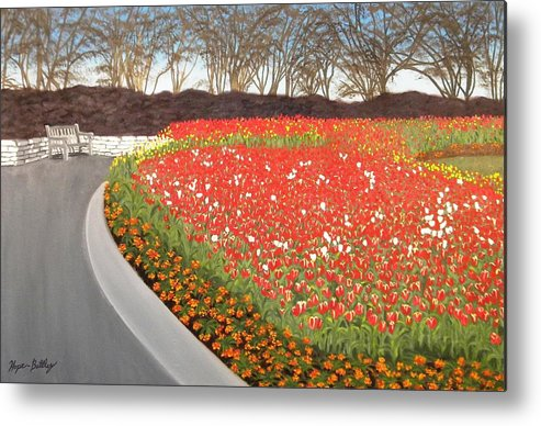 Tulip Metal Print featuring the painting Red Tulip Garden by Gwendolyn Hope-Battley