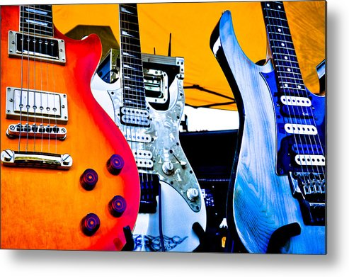 The Kingpins Metal Print featuring the photograph Red White And Blue Guitars by David Patterson