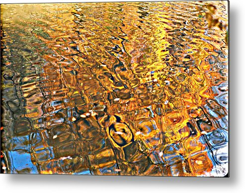 Reflections In Water Metal Print featuring the photograph Reflections In Gold by Ira Shander