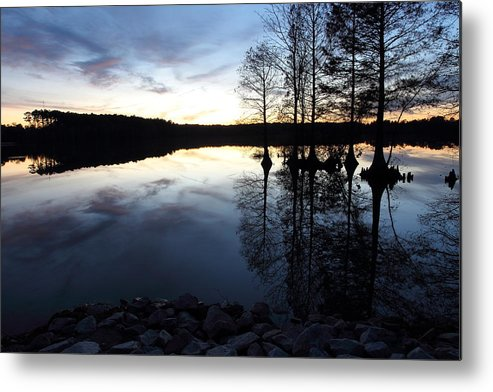 Lake Metal Print featuring the photograph Reflections On Lake At Sunset by April Copeland