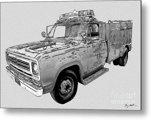 Los Angeles County Metal Print featuring the digital art Rescue 51 by Tommy Anderson