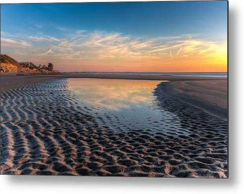 Clouds Metal Print featuring the photograph Ripples In The Sand by Debra and Dave Vanderlaan