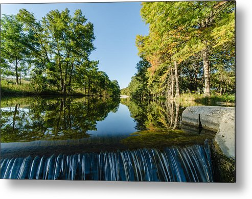 Texas Metal Print featuring the photograph River Falls In The Fall On The Guadalupe River by Jeffrey W Spencer