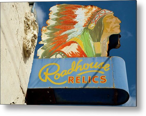Austin Metal Print featuring the photograph Roadhouse Relics Sign by Mark Weaver