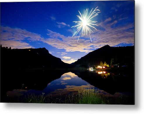 Fireworks; Firework; Reflections; Sky; Blue; Water; Cabin; Rustic; Rural; Rocky Mountains; Colorado Nature; Colorado Landscapes; Fine Art; Colorado Nature Landscape; James Bo Insogna; Photography Prints; Decorative; Decoration; Corporate Art; Gifts; For Sale; Metal Print featuring the photograph Rollinsville Yacht Club Fireworks Private Show 52 by James BO Insogna