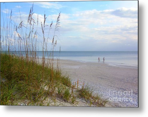 The Fine Art America Logo Is A Protection From Wen Thieves.. Metal Print featuring the photograph Romantic Secluded Beach by Lou Ann Bagnall