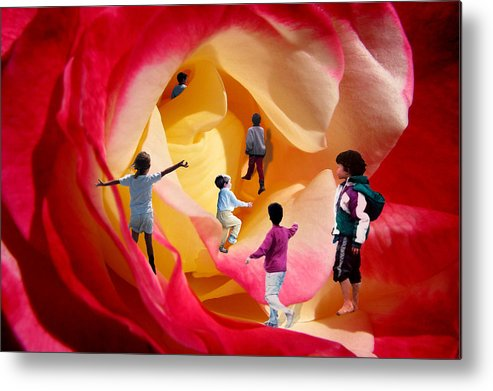 Rose Metal Print featuring the digital art Rose Labyrinth by Lisa Yount