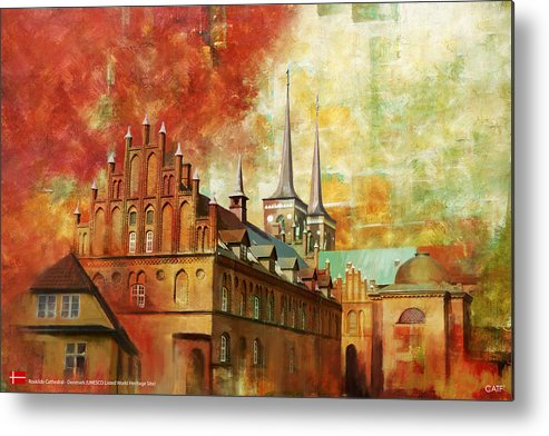 Denmark Art Metal Print featuring the painting Roskilde Cathedral by Catf