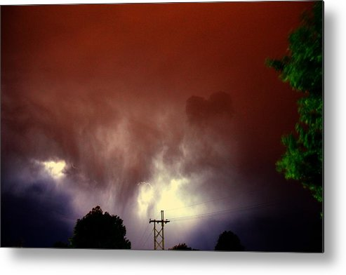 Stormscape Metal Print featuring the photograph Rounds 2 3 Late Night Nebraska Storms by NebraskaSC