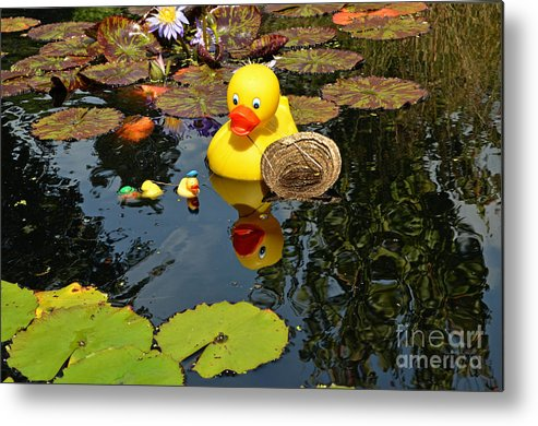 Water Metal Print featuring the digital art Rubber Duckies by Eva Kaufman