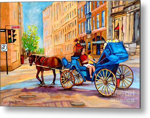 Rue Notre Dame Metal Print featuring the painting Rue Notre Dame Caleche Ride by Carole Spandau